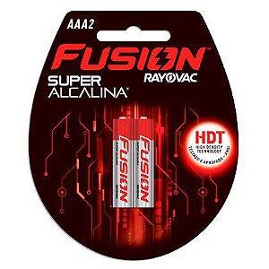 Pilhas Super Alcalinas Rayovac Fusion Palito AAA2 01 Cartela com 02 Pilhas