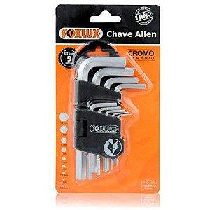 Chave Allen Foxlux 1,5 - 10mm Com 09 Peças e Acabamento Cromado