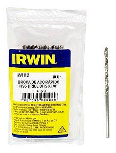 """Jogo de Brocas em Aço Rápido Irwin 1/8"""" com 10 Unidades"""