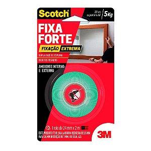 Fita Dupla Face Espuma 3M Fixa Forte 24mm x 02m Interno e Externo