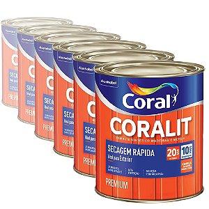 Esmalte Sintético Coralit Secagem Rápida Brilhante Platina 900ml com 06 Unidades
