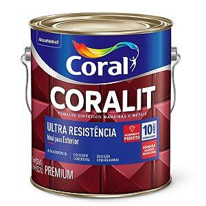 Esmalte Sintético Acetinado Coralit Coral Ultra Resistência Branco Galão 3,6 Litros