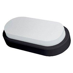 Arandela Oval Flat LED Demi 8w Bivolt 6500k Preta
