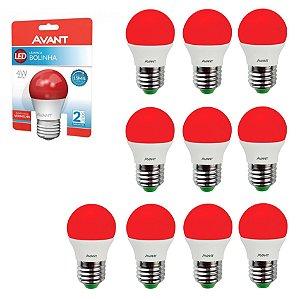 Lâmpada Avant Super LED Bolinha 4W Vermelho Kit com 10 Unidades