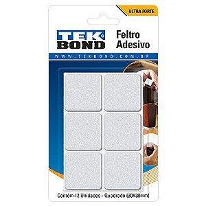 Feltro Adesivo Tek Bond Quadrado 30mm Branco com 12 Unidades