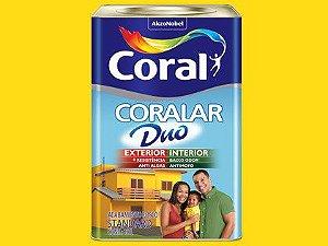 Tinta Acrílica Coralar Duo Exterior e Interior Amarelo Frevo Lata 18 Litros