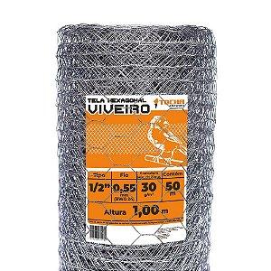 Tela para Viveiro Tocha Hexagonal 1,0 x 50 Metros 24 mm
