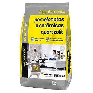 Rejunte Quartzolit para Porcelanato Cinza Platina 15 Sacos com 01 Kg cada