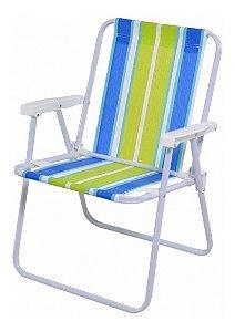 Cadeira De Praia Mor Alta em Aço 01 Posição