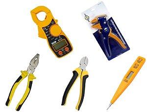Kit de Ferramentas para Eletricista com Multímetro Digital