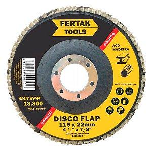 Disco Flap Fertak Cônico 115x22,23mm Grão 60 Embalagem com 10 Unidades