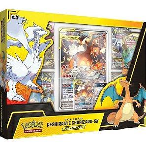 Box Pokémon Coleção Aliados Reshiram Charizard-gx