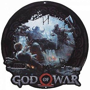 Placa Alumínio - God of War - Kratos e Atreus contra Trol