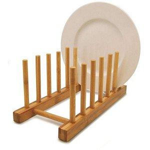 Escorredor De Pratos Bambu Suporte Copos Multiuso Cozinha
