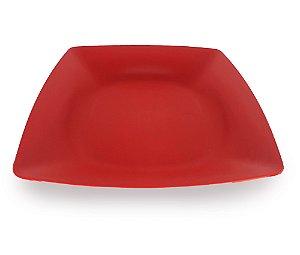 Pratos De Plástico Quadrado Vermelho Duro 24 x 24 Cm