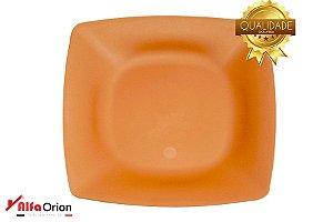 Pratos De Plástico Quadrado Laranja Duro 24 x 24 Cm