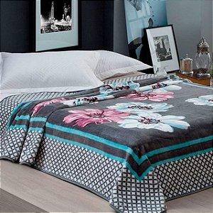 Cobertor Corttex - Florido Preto