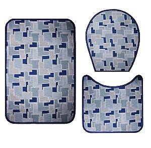Jogo De Banheiro - Azul Geometrico