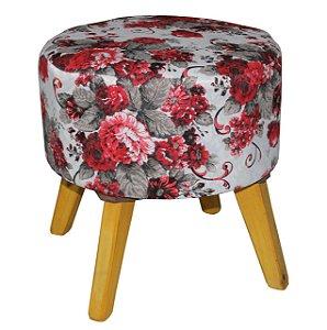 Puff Redondo - Floral Vermelho