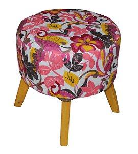 Puff Redondo - Floral Rosa