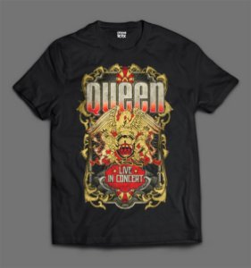 Camiseta - Queen - Live in Concert.