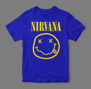 Camiseta - Nirvana Smile - Azul