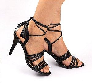 Sandália de Salto Luxury Preto 9 cm