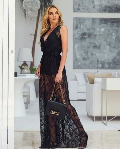 Vestido longo em renda 0070