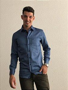Camisa Masculina Manga Longa Azul Listrada
