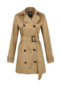 Casaco Trench Coat Feminino Básico Em Tecido De Algodão