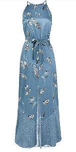 Vestido Longo Feminino Em Tecido Maquinetado De Viscose