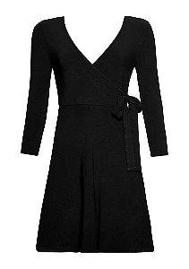 Vestido Em Malha De Viscose Com Decote E Transpasse Frontal