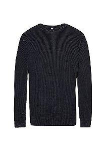 Blusão Masculino Em Tricô De Algodão - Preto
