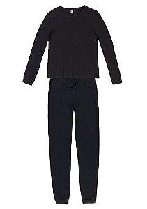 Pijama Feminino Longo Em Malha De Algodão - Preto- G