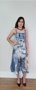 Vestido Midi KÍMIKA  Em Tecido Leve- Azul Estampado- P