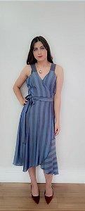 Vestido Curto Traspassado Kimika- Azul