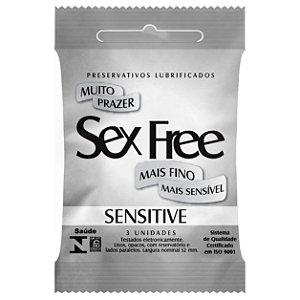 Preservativo Lubrificado Sex Free - Sensitive - Mais fino, Mais sensível com 3 unidades