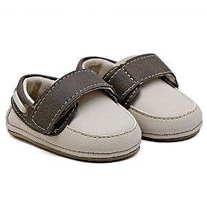Sapato Masculino Infantil com Velcro Santa Fé - Off - White com Cinza