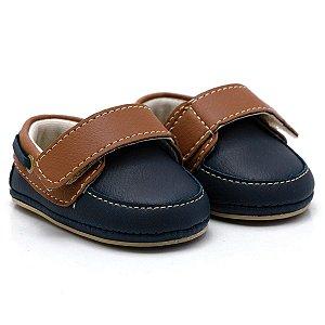 Sapato Masculino Infantil com Velcro  Santa Fé -  Azul Marinho com Chocolate