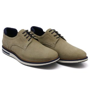 Sapato Casual Masculino em Couro Bovino Alta Classificação (Camurça Areia)