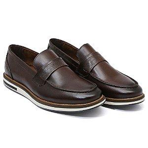 Sapato Casual Masculino em Couro Bovino Alta Classificação (Telha)
