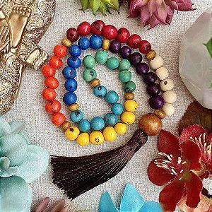 Japamala 54 contas de Açaí Cores dos Chakras