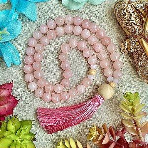 Japamala 54 contas de Quartzo Rosa para Amor, Paz e Harmonia em Relacionamentos Afetivos e Familiares