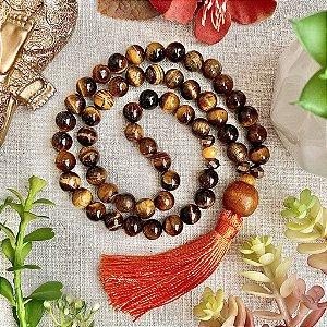 Japamala 54 contas de Olho de Tigre para Afastar Energia Negativa, Prosperidade e Equilíbrio das Energias Yin e Yang