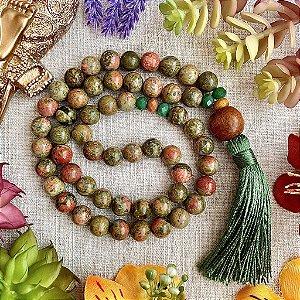 Japamala 54 contas de Unakita para Cura Energética, Fortalecimento da Espiritualidade e Equilíbrio Físico