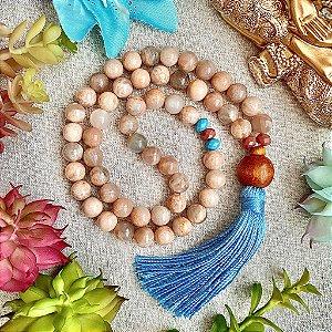 Japamala 54 contas de Pedra da Lua para Expansão da Consciência, Elevação Espiritual e Desenvolvimento das Capacidades Mediúnicas