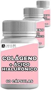Kit 3 Frascos Colágeno Hidrolisado + Ácido Hialurônico - 60 cápsulas cada - Total 180 Cápsulas