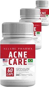 KIT 3 Frascos Acne Care®️ - 60 cápsulas cada (TOTAL 180 CÁPSULAS. Tratamento para 3 meses) - Tratamento para Acne e Pele Oleosa (Sem efeitos colaterais)