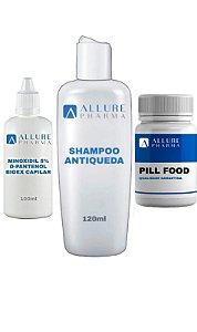 Kit Cuidado Capilar: Minoxidil 5%, D-Pantenol e Bioex® 100ml + 1 Pill Food - 30 cápsulas + 1 Shampoo Antiqueda - 120ml