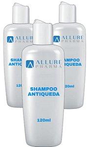 KIT 3 Frascos Shampoo Antiqueda - 120 ml (Previne a perda capilar)